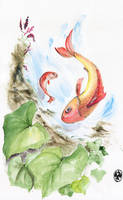 Fishes in waterfall by Trifoly