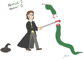7. Neville vs. Nagini by fire-works