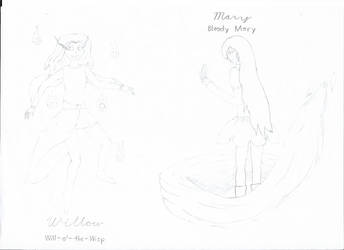 Will-o'-the-Wisp and Bloody Mary (Willow and Mary) by PsychedAngsty