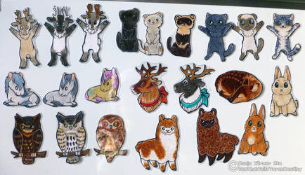 Handdrawn Magnets For Sale And Commissions by RonTheWolf