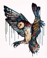 Barn Owl Watercolor by Rhythmpaws