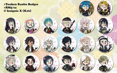 touken ranbu badges by hisaru