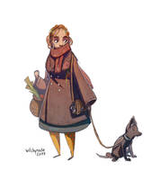 Sketch - Annabelle and her puppy by WitchyNade