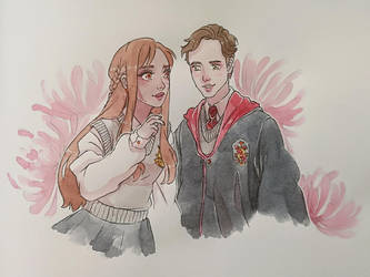 Commission # 20 - Hogwarts couple by WitchyNade