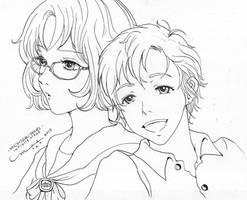 Infinite Stage: Rieko and Shin (WIP) by littlemissmarikit