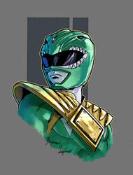 Mighty Morphin Power Rangers green color by le0arts