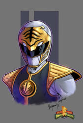Mighty Morphin Power Rangers white ranger color by le0arts