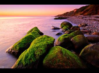 Mossy Rocks Sunset by KeldBach