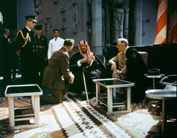 Franklin D. Roosevelt with King Ibn Saud, 1845 by KeldBach