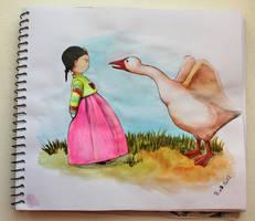 Little Korean girl and the goose by veternity