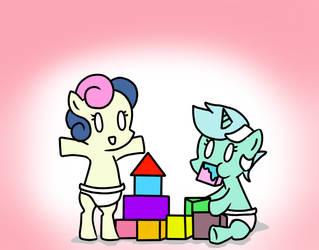 Baby Lyra and Bon Bon by jelliPANDA
