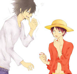 favorite characters on 2013 (No.1) L and Luffy by tezusaba
