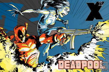 Deadpool X-23 on Fire by cyomAn