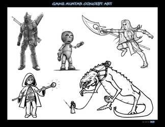 Game avatar concept art by bgr