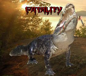 Fatality: alligator devours knife wielding guy by Pyro-raptor