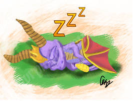 Spyro the Dragon Sleeping by purpledragon267