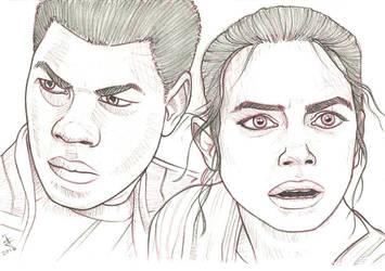Finn and Rey TFA sketch by JustinSpyresArt