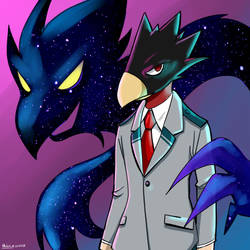 Tokoyami and Dark Shadow by Helsic