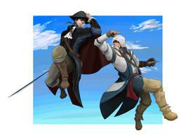 Haytham and Connor by hakusekirei