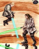 Anakin and Qui-Gon duel by tallterror
