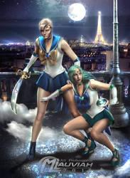 Sailor Uranus and Neptune in Night by MLauviah