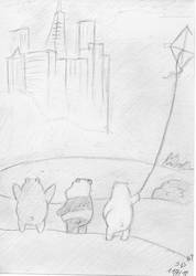 The three bare bears by mediocrart