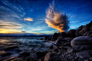 Turbulent Skies Seen From Tahoe's East Shore by sellsworth