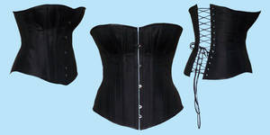 Black silk Victorian corset by Janes-Wardrobe