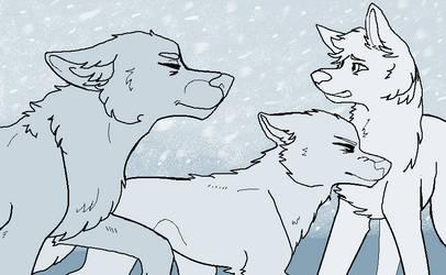 Snowstorm - MSPaint Friendly Canine Group Lineart by Birritan