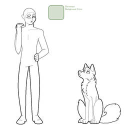 Dog/Person Lineart Male MSPaint Friendly by Birritan