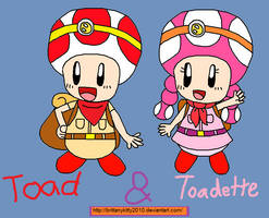 Toad and Toadette by BrittanyKitty2010