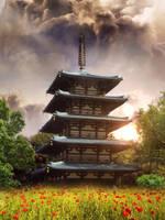 Field of Flowers Japanese Pagoda by MataHari22