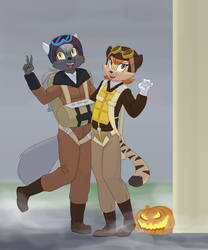 Commission: Halloween pals by Siansaar