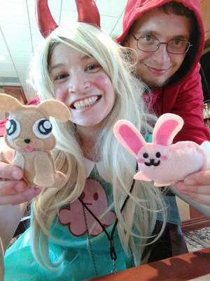 Marco and I with the laser puppy and bunny! by Blaria95