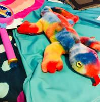 Rainbow Lizard protecting Star's dress by Blaria95