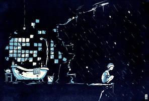 summer rain night bath sketch by vladder