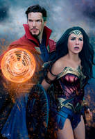 Doctor Strange and Wonder Woman by CeciliaGf