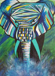 Mad Elephant Green Acrylic by TheJennaBrown