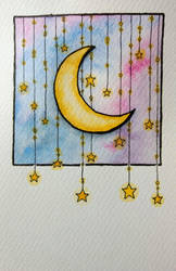 Moon and stars by Mymylle