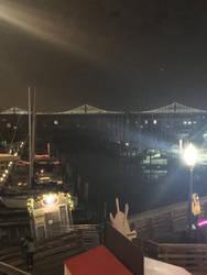 San Francisco/Oakland Bay Bridge lights. by sfgiants58