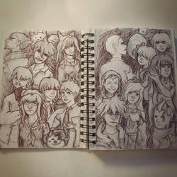 danganronpa 2 pen sketches by lexolad99