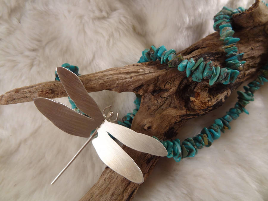 Dragonfly neckace - turqoise and silver by entanglement