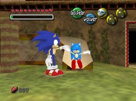 Sonic y Mini Sonic by LunaNegra1949
