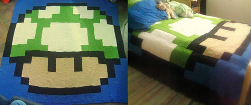 1up Mushroom Blanket by DarkLyghtning