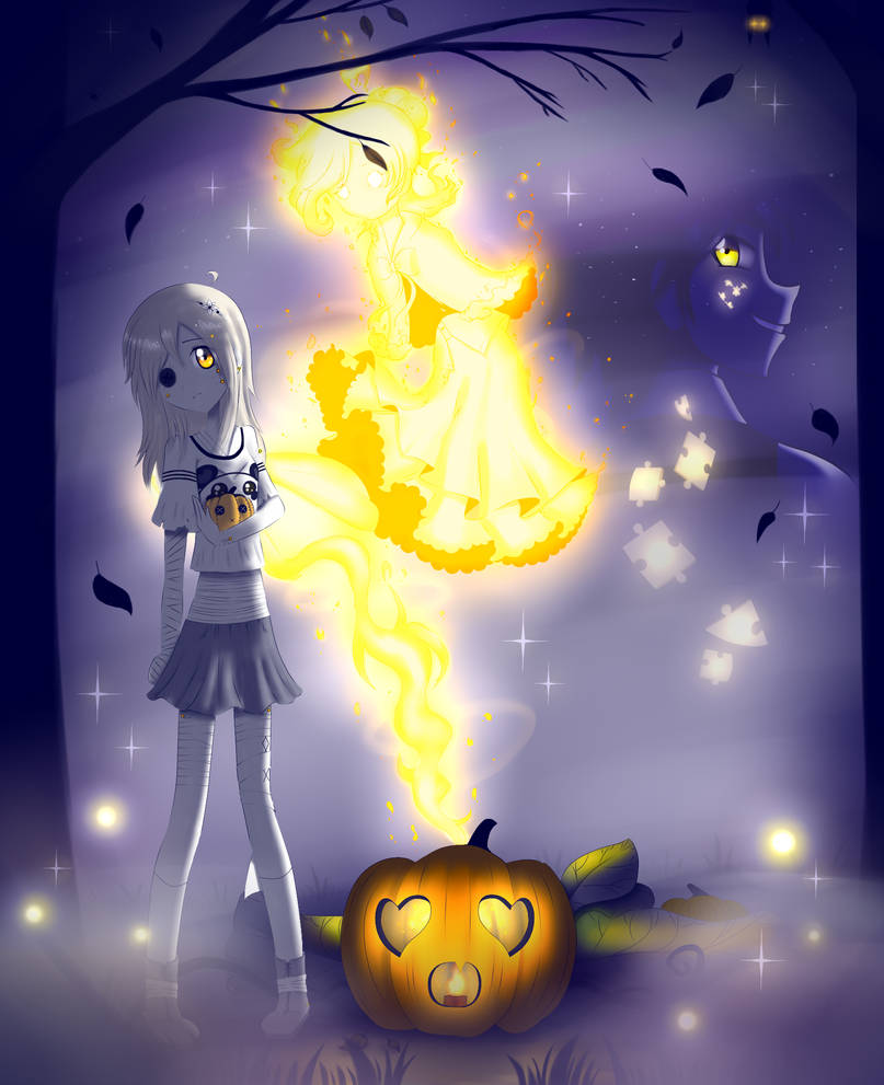 Mono-chan and Tetra-san in Halloween Night by SimsValeria