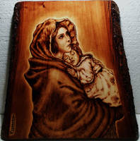 Maternita - Pyrography by CarloFerrario1954