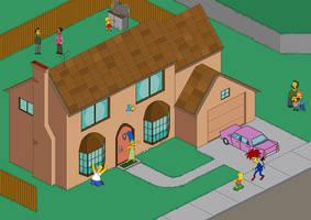 The Simpsons Pixel Scene by XFak7oR