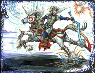 Oni Link and Oni Epona by LilleahWest