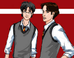 Padfoot and Prongs colored by girl2004
