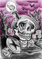 Skull with candle by jerrrroen